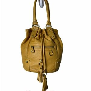 Emma Fox Leather Mustard Tassels Bucket Pu…